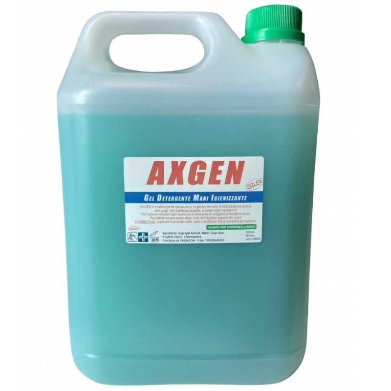 Gel Igienizzante Axgen alcoolico mani senza risciacquo per dispenser in tanica 5 lt