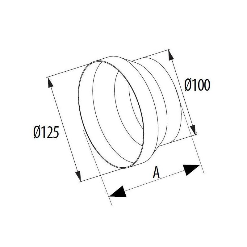 Riduzione 100-125 plastica bianca (pvc)