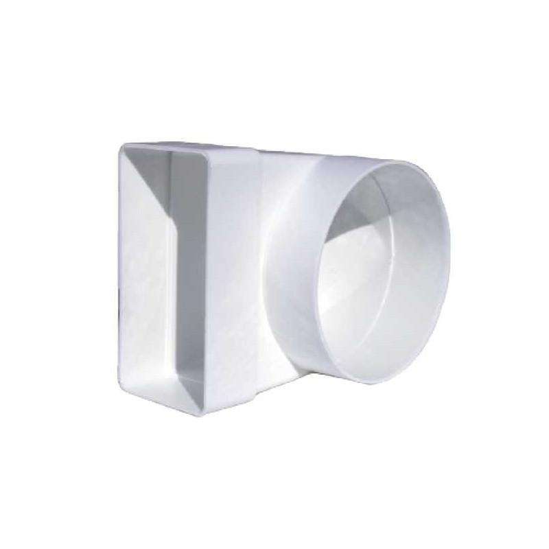 Riduttore da tondo a rettangolare angolo 90° in plastica bianca (pvc)